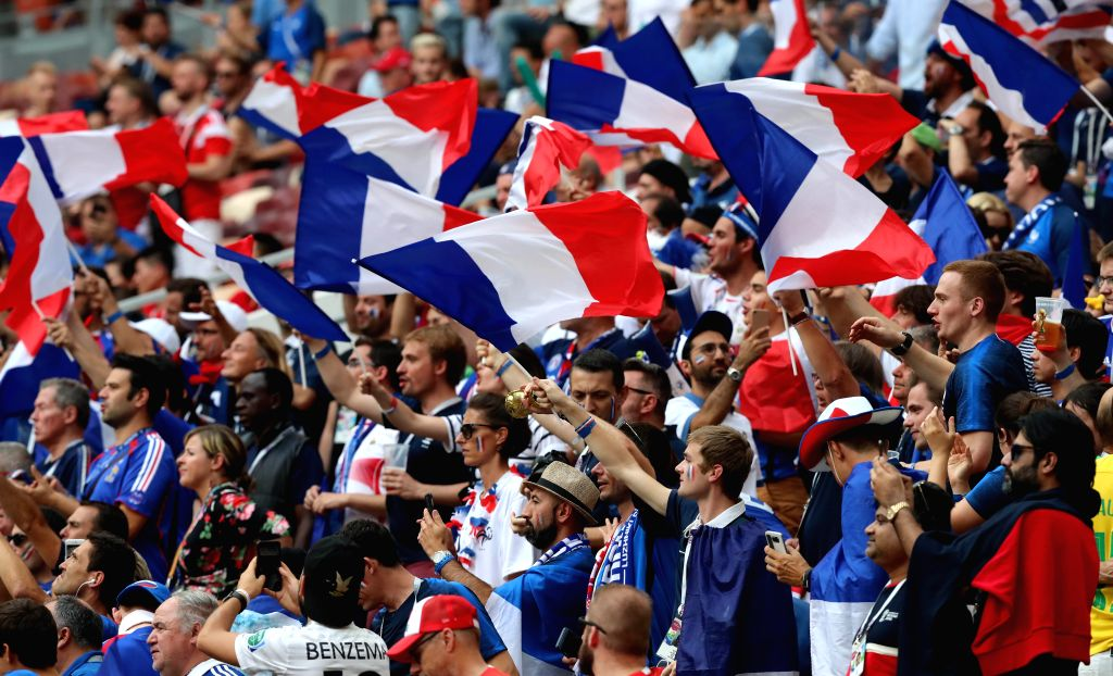 MOSCOW, July 15, 2018 - Fans cheer prior to the 2018 FIFA World Cup final match between France and Croatia in Moscow, Russia, July 15, 2018.