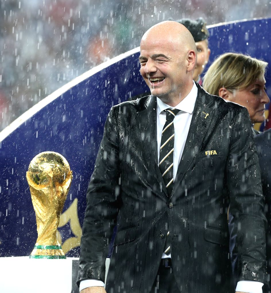 MOSCOW, July 15, 2018 - FIFA President Gianni Infantino is seen at the awarding ceremony after the 2018 FIFA World Cup final match between France and Croatia in Moscow, Russia, July 15, 2018. France ...