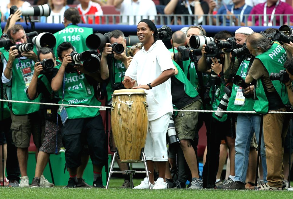 MOSCOW, July 15, 2018 - Former Brazilian soccer player Ronaldinho (C front) is seen at the closing ceremony of the 2018 FIFA World Cup in Moscow, Russia, July 15, 2018.