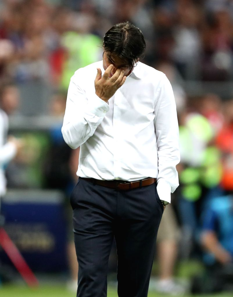 MOSCOW, July 15, 2018 - Head coach Zlatko Dalic of Croatia reacts after the 2018 FIFA World Cup final match between France and Croatia in Moscow, Russia, July 15, 2018. France defeated Croatia 4-2 ...