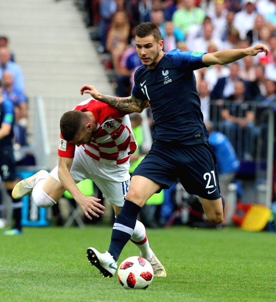 MOSCOW, July 15, 2018 - Lucas Hernandez (R) of France competes during the 2018 FIFA World Cup final match between France and Croatia in Moscow, Russia, July 15, 2018.