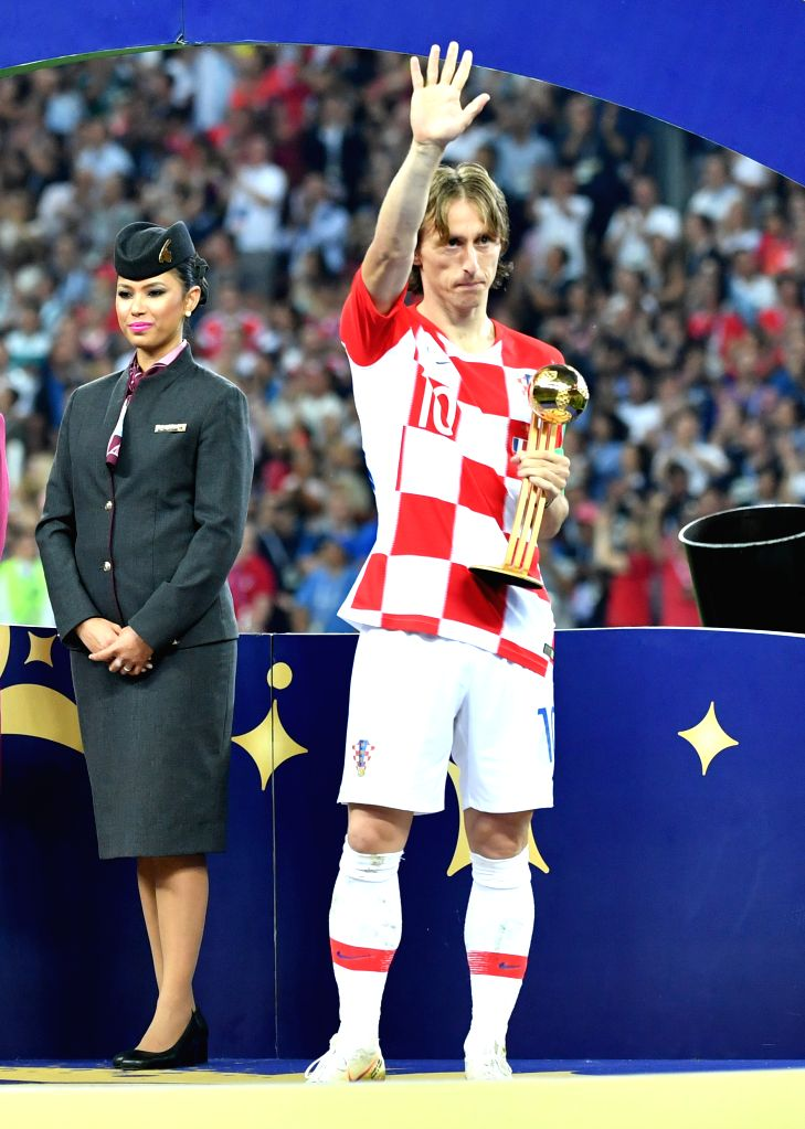 MOSCOW, July 15, 2018 - Luka Modric of Croatia receives the Golden Ball award at the awarding ceremony after the 2018 FIFA World Cup final match between France and Croatia in Moscow, Russia, July 15, ...