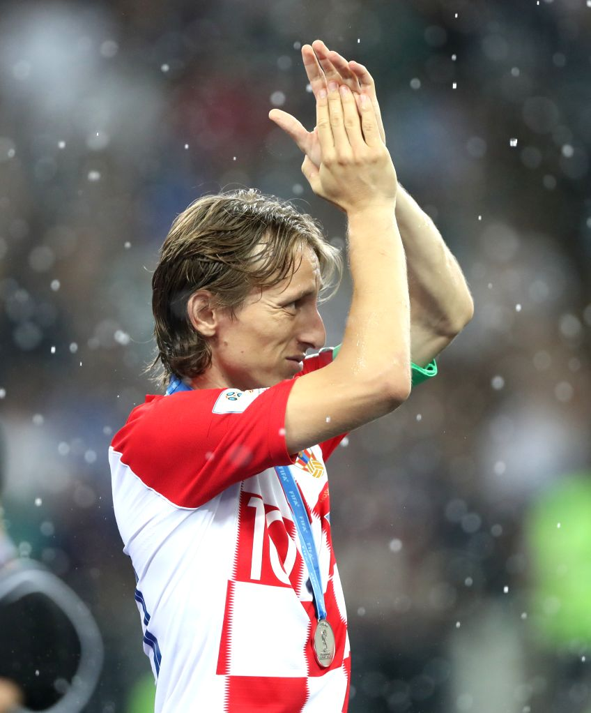MOSCOW, July 15, 2018 - Luka Modric of Croatia greets the audience after the 2018 FIFA World Cup final match between France and Croatia in Moscow, Russia, July 15, 2018. France defeated Croatia 4-2 ...