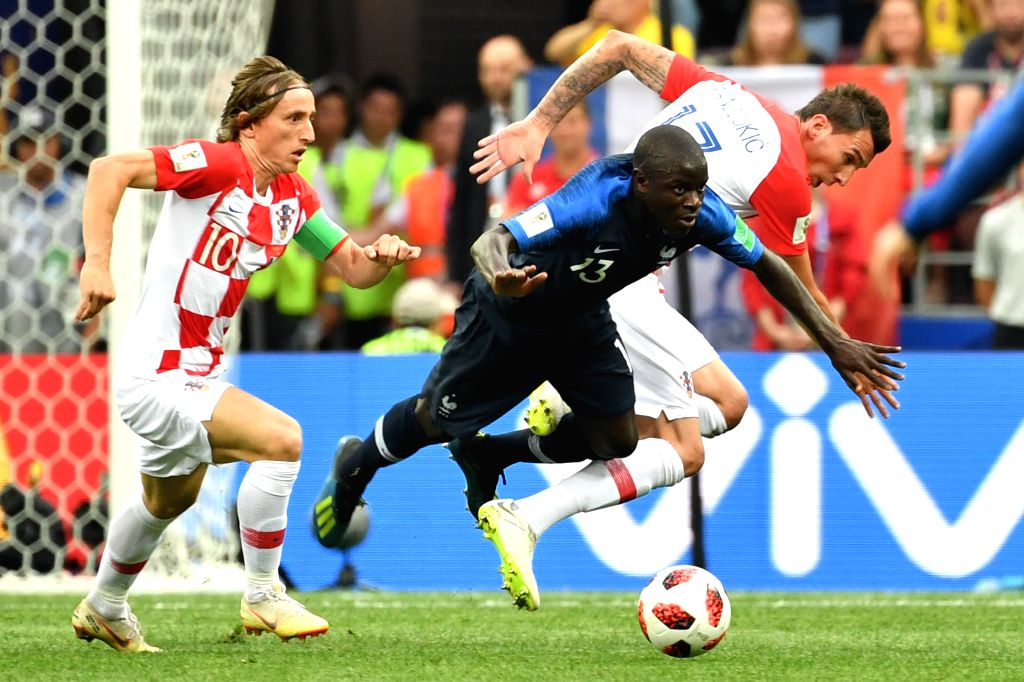 MOSCOW, July 15, 2018 - Ngolo Kante (C) of France competes during the 2018 FIFA World Cup final match between France and Croatia in Moscow, Russia, July 15, 2018.