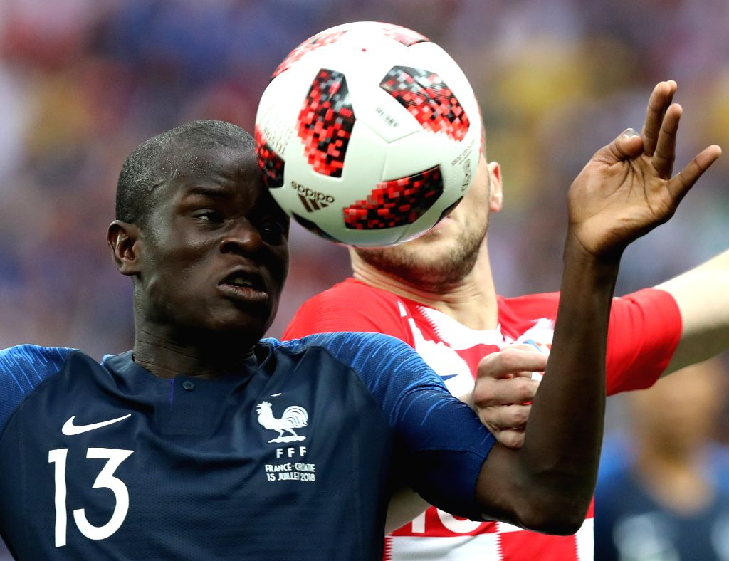 MOSCOW, July 15, 2018 - Ngolo Kante (L) of France vies with Ante Rebic of Croatia during the 2018 FIFA World Cup final match between France and Croatia in Moscow, Russia, July 15, 2018.