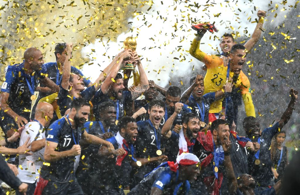 MOSCOW, July 15, 2018 - Players of France celebrate at the awarding ceremony after the 2018 FIFA World Cup final match between France and Croatia in Moscow, Russia, July 15, 2018. France defeated ...