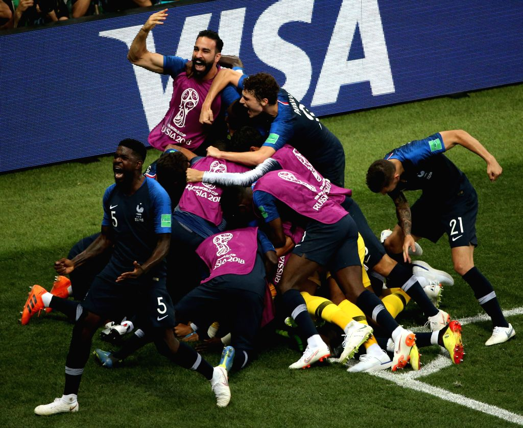 MOSCOW, July 15, 2018 - Players of France celebrate Paul Pogba's goal during the 2018 FIFA World Cup final match between France and Croatia in Moscow, Russia, July 15, 2018. France defeated Croatia ...