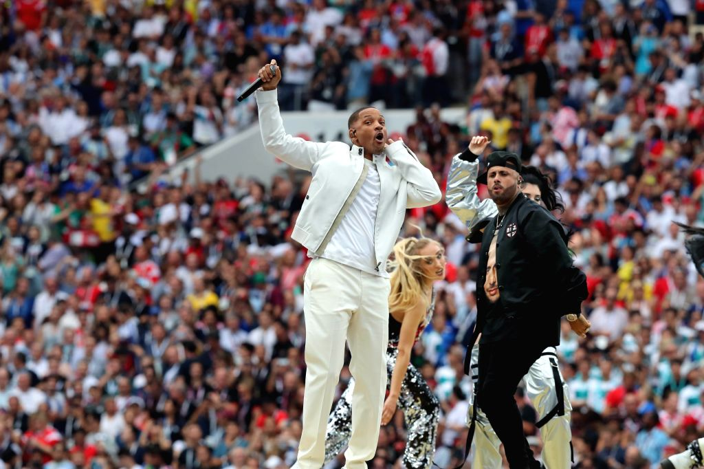 MOSCOW, July 15, 2018 - U.S. actor Will Smith (L front) performs at the closing ceremony of the 2018 FIFA World Cup in Moscow, Russia, July 15, 2018. - Will Smith