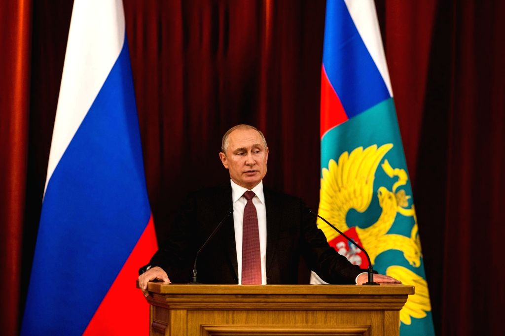 MOSCOW, July 20, 2018 - Russian President Vladimir Putin speaks during a conference of Russian ambassadors in Moscow, Russia, on July 19, 2018. Russian President Vladimir Putin on Thursday called the ...