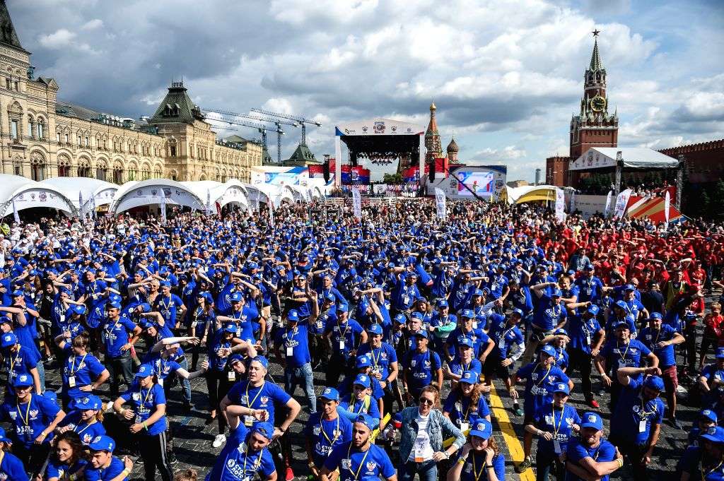 MOSCOW, July 22, 2019 - People participate in the public boxing practice in Moscow, Russia, on July 21, 2019. Over 4000 people took part in a boxing training session during the 3rd international ...