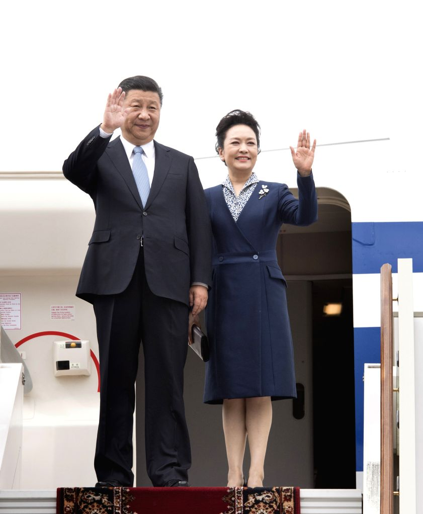 MOSCOW, July 3, 2017 - Chinese President Xi Jinping and his wife Peng Liyuan arrive in Moscow, Russia, July 3, 2017. Xi embarks on a state visit to Russia.