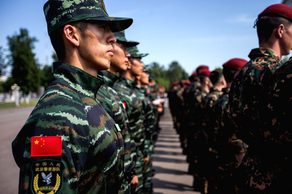 MOSCOW, July 4, 2016 - Chinese People's Armed Police Force soldiers stand in the formation during the joint anti-terror exercises in Moscow, Russia, on July 3, 2016. A series of large-scale joint ...