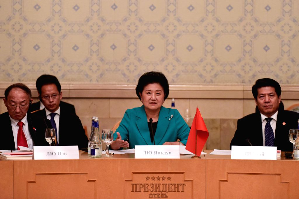 Moscow, July 4, 2016 - Chinese Vice Premier Liu Yandong(C) speaks during the 17th session of the China-Russia committee on Humanities Cooperation in Moscow, Russia, July 4, 2016. Chinese Vice Premier ...