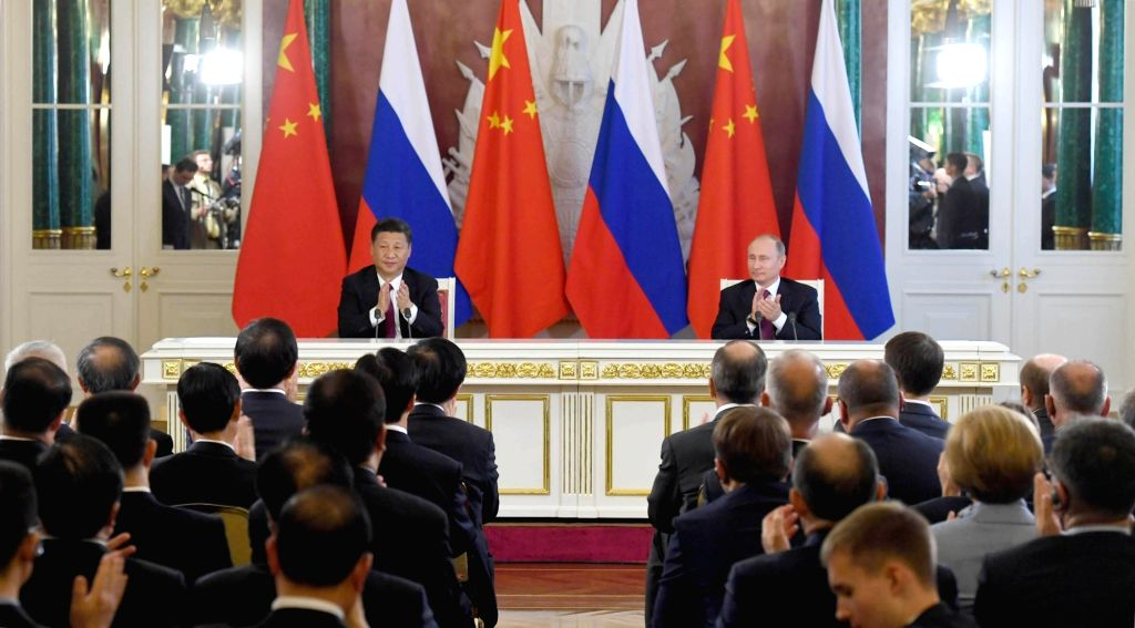 MOSCOW, July 4, 2017 - Chinese President Xi Jinping and his Russian counterpart Vladimir Putin meet the press after their talks in Moscow, Russia, July 4, 2017.
