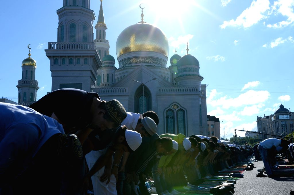 MOSCOW, July 5, 2016 - Muslims gather outside Moscow cathedral mosque for Eid al-Fitr holiday prayer in Moscow, Russia, July 5, 2016. Muslims around the world celebrate the end of the holy Muslim ...