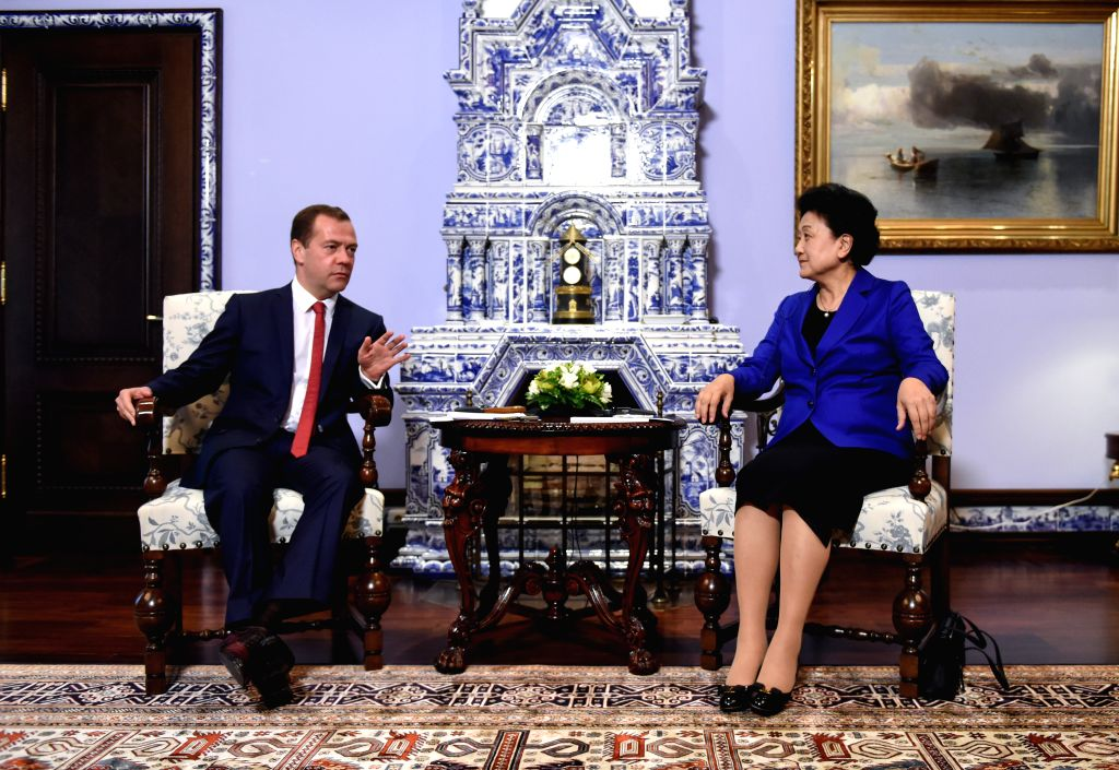 MOSCOW, July 5, 2016 - Russian Prime Minister Dmitry Medvedev (L) meets with visiting Chinese Vice Premier Liu Yandong in Moscow, Russia, on July 4, 2016. - Dmitry Medvedev