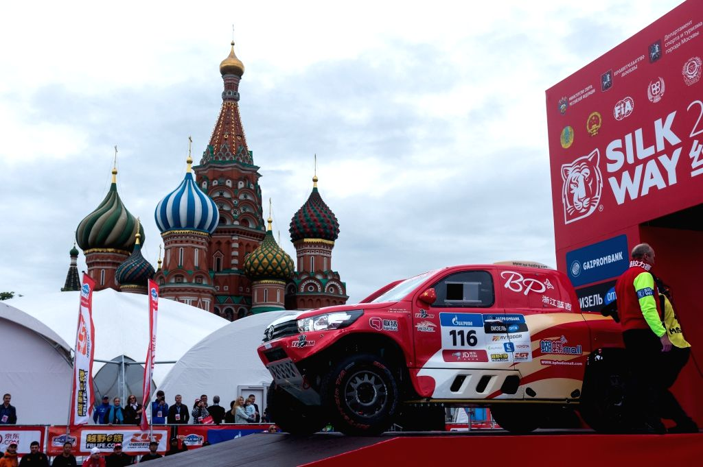 MOSCOW, July 8, 2017 - The car of Yong Zhou of China and Pascal Maimon of France is seen during the official start of the Silk Road Rally 2017 in Moscow, Russia, on July 7, 2017.
