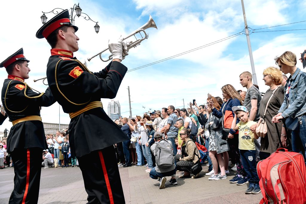 MOSCOW, June 1, 2019 - Cadets of Moscow Military Music College perform near the Kazansky train station to celebrate the Children's day in Moscow, Russia, June 1, 2019.