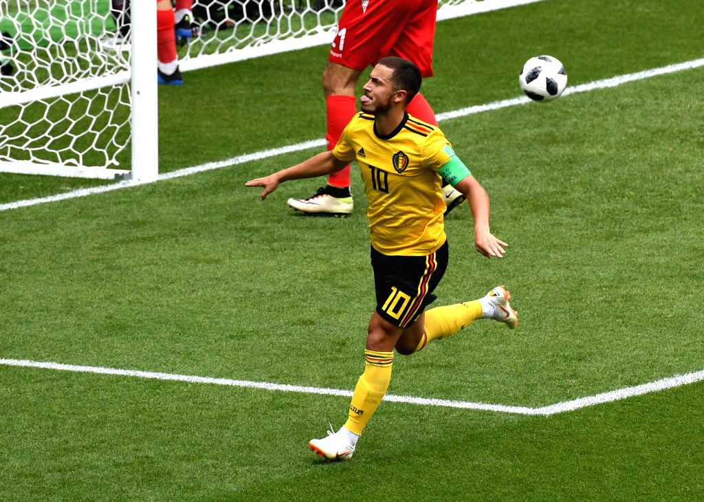 MOSCOW, June 23, 2018 (Xinhua) -- Eden Hazard of Belgium celebrates his scoring during the 2018 FIFA World Cup Group G match between Belgium and Tunisia in Moscow, Russia, June 23, 2018. (Xinhua/Wang Yuguo/IANS)
