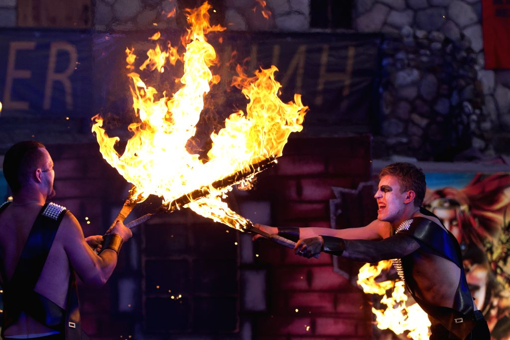 MOSCOW, June 25, 2017 - Artists perform with fire during the carnival of fire in Moscow, Russia, on June 24, 2017.  Artists from different part of Russia take part in the carnival every year. ...