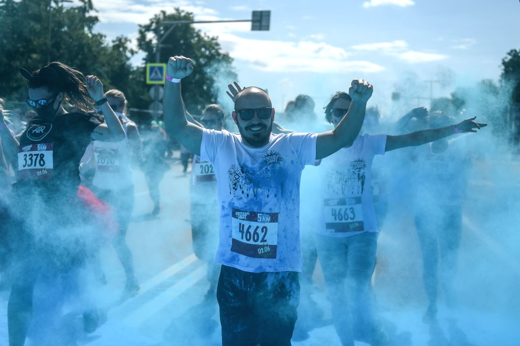 MOSCOW, June 3, 2019 - Participants run through colored powder during the annual color run in Moscow, Russia, June 2, 2019.