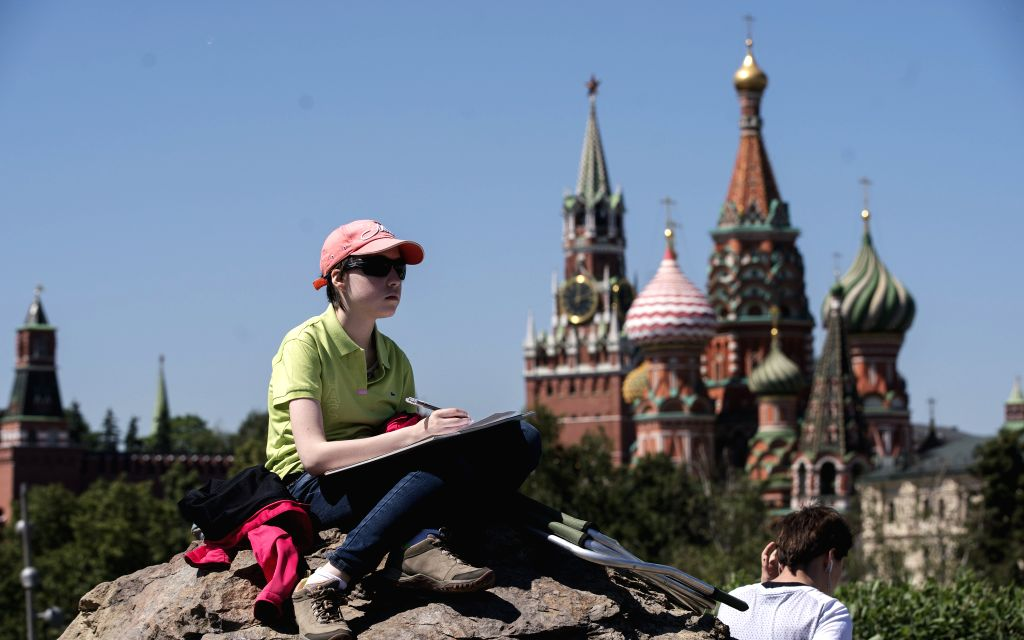 MOSCOW, June 4, 2019 - A student draws in a park near the Red Square in Moscow, capital of Russia, June 4, 2019.
