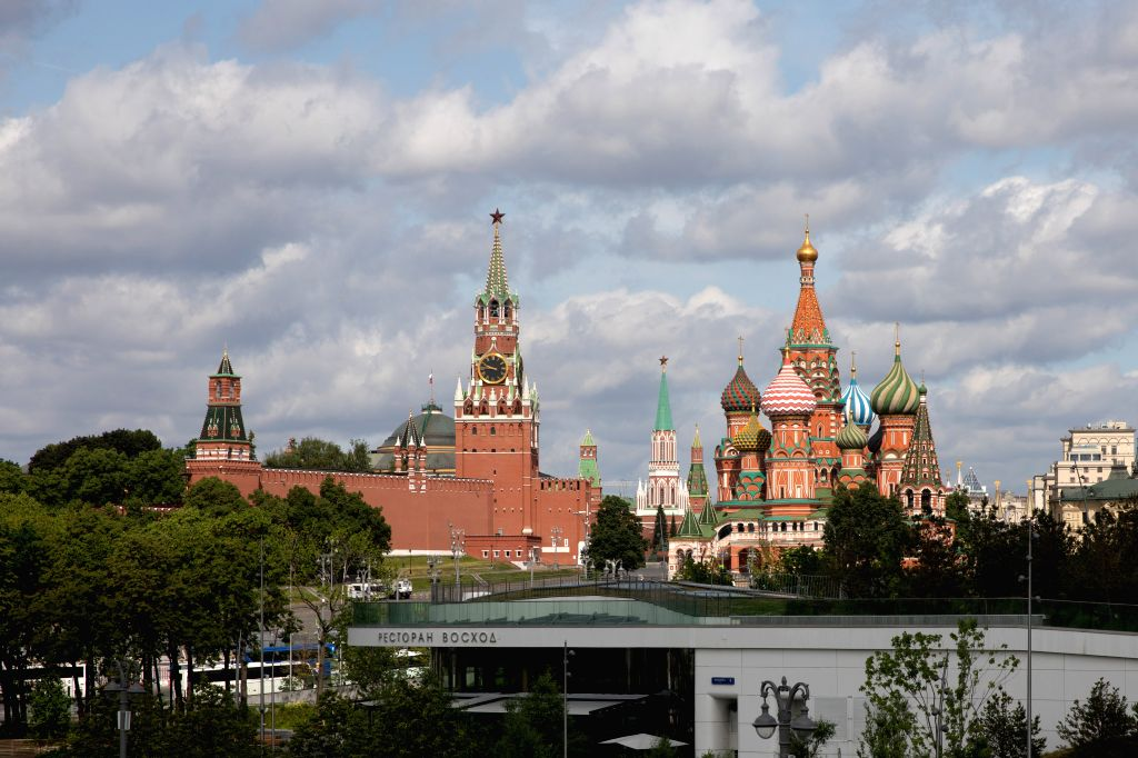 MOSCOW, June 4, 2019 - Photo taken on June 3, 2019 shows the Kremlin Palace (L) and the Saint Basil's Cathedral in Moscow, capital of Russia. Chinese President Xi Jinping will pay a state visit to ...