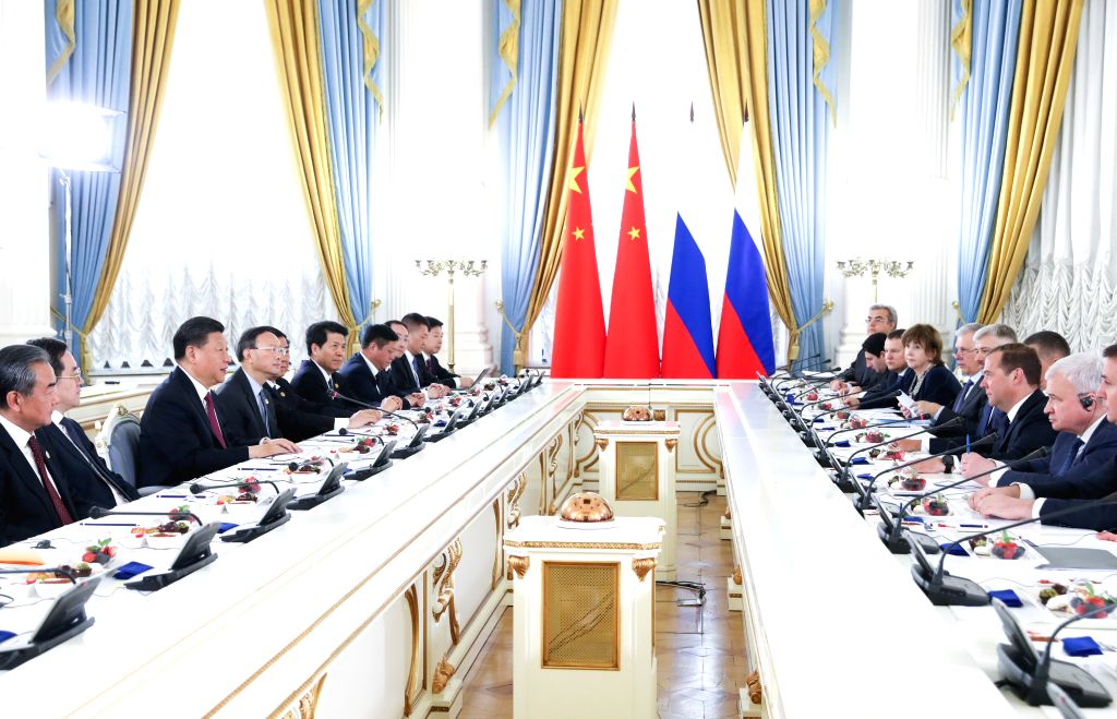 MOSCOW, June 6, 2019 - Chinese President Xi Jinping meets with Russian Prime Minister Dmitry Medvedev in Moscow, capital of Russia, June 6, 2019. - Dmitry Medvedev