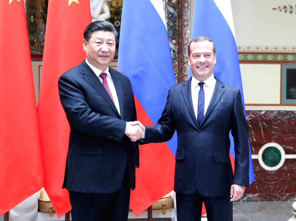MOSCOW, June 6, 2019 - Chinese President Xi Jinping (L) meets with Russian Prime Minister Dmitry Medvedev in Moscow, capital of Russia, June 6, 2019. - Dmitry Medvedev
