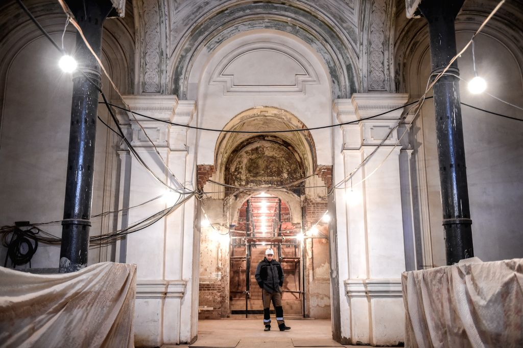 MOSCOW, March 14, 2019 - A construction worker stands in the archway on the first floor of Polytechnic museum of Moscow, Russia, on March 13, 2019. Polytechnic museum of Moscow was founded in 1872 ...
