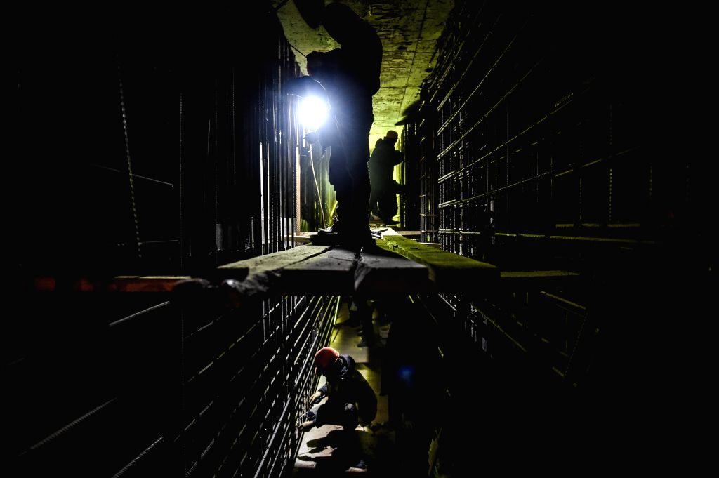 MOSCOW, March 14, 2019 - Workers work at the restoration site in the basement of Polytechnic museum of Moscow, Russia, on March 13, 2019. Polytechnic museum of Moscow was founded in 1872 and is one ...