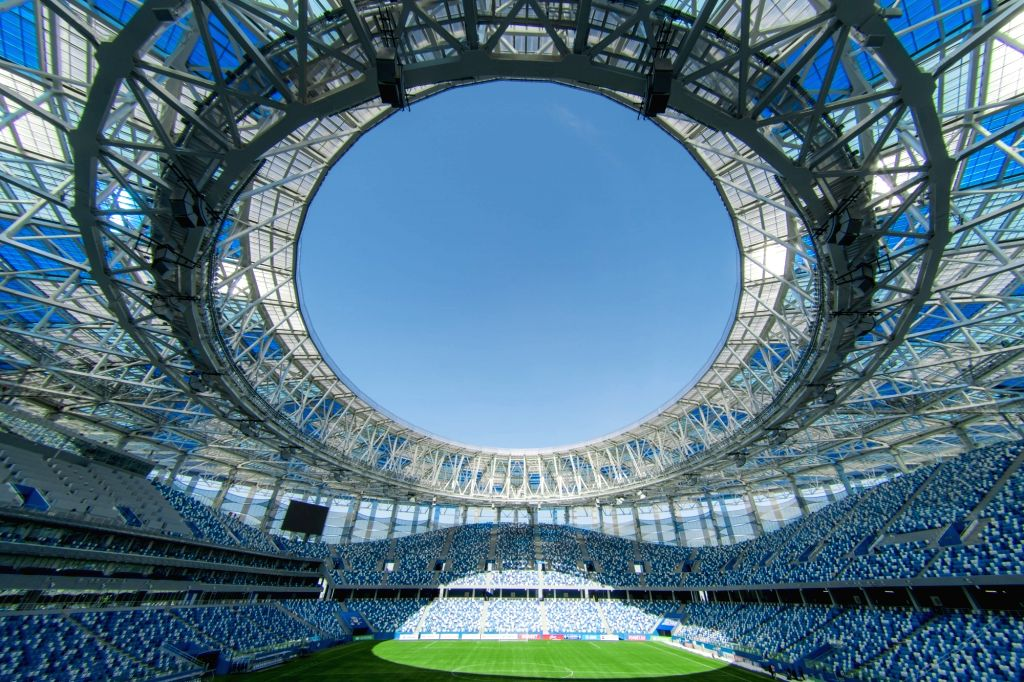 MOSCOW, May 20, 2018 - Picture taken on April 16, 2018 shows the inside view of Nizhny Novgorod Stadium which will host the 2018 World Cup matches in Volgogard, Russia.