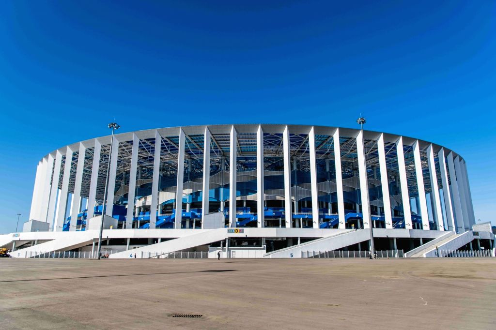 MOSCOW, May 20, 2018 - Picture taken on April 16, 2018 shows the exterior view of Nizhny Novgorod Stadium which will host the 2018 World Cup matches in Volgogard, Russia.