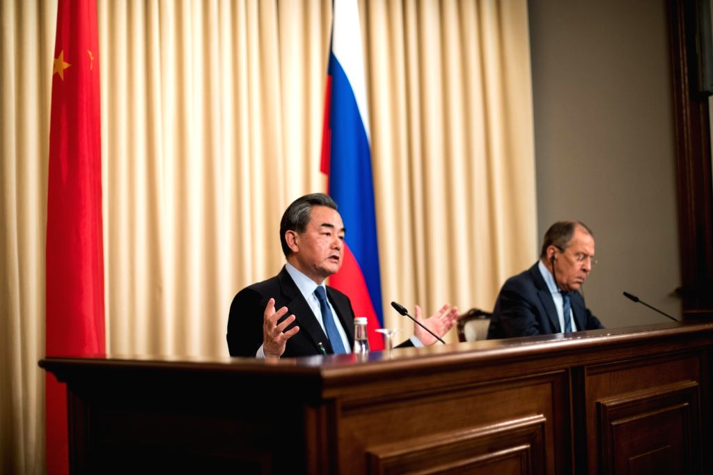 MOSCOW, May 27, 2017 - Chinese Foreign Minister Wang Yi (L) speaks during a joint press conference with his Russian counterpart Sergei Lavrov following their meeting in Moscow, capital of Russia, May ... - Wang Y