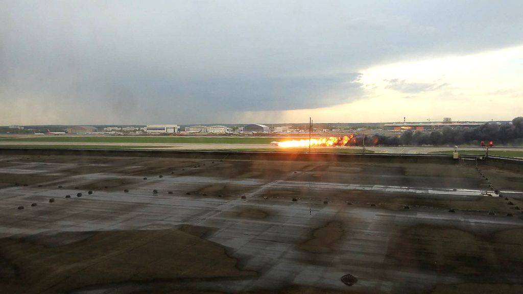 MOSCOW, May 5, 2019 - A passenger plane is seen on fire during its emergency landing in the Sheremetyevo International Airport in Moscow, Russia, on May 5, 2019. Russia's Investigative Committee ...