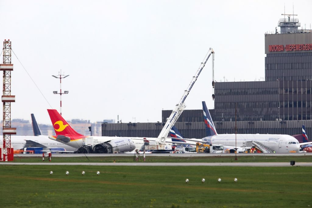 MOSCOW, May 6, 2019 - Burnt fuselage of an Aeroflot SSJ-100 passenger plane is seen on the tarmac at Sheremetyevo International Airport in Moscow, Russia, on May 6, 2019. Russia's Investigative ...