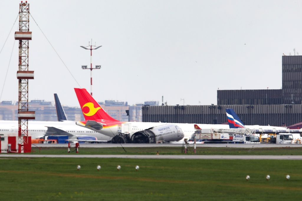 MOSCOW, May 6, 2019 - This handout video grab released by Russian Investigative Committee on May 6, 2019 shows the burnt hull of an Aeroflot SSJ-100 passenger plane at the Moscow's Sheremetyevo ...