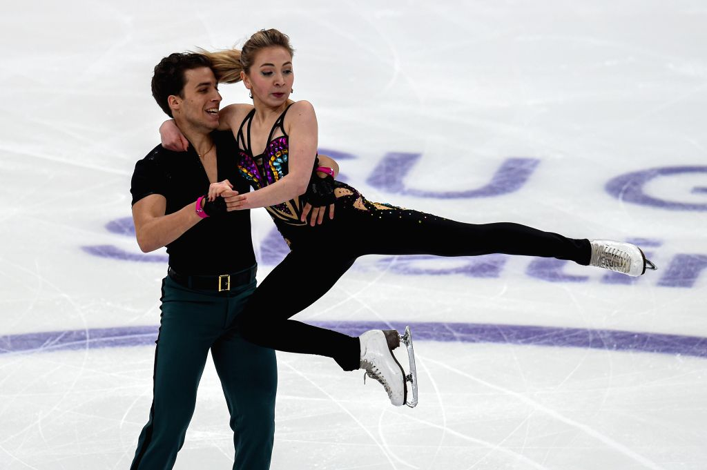 MOSCOW, Nov. 16, 2019 - Adelina Galyaeva (R) and Louis Thauron of France perform during the rhythm dance of Ice Dance at the ISU Grand Prix of Figure Skating Rostelecom Cup 2019 in Moscow, Russia, on ...
