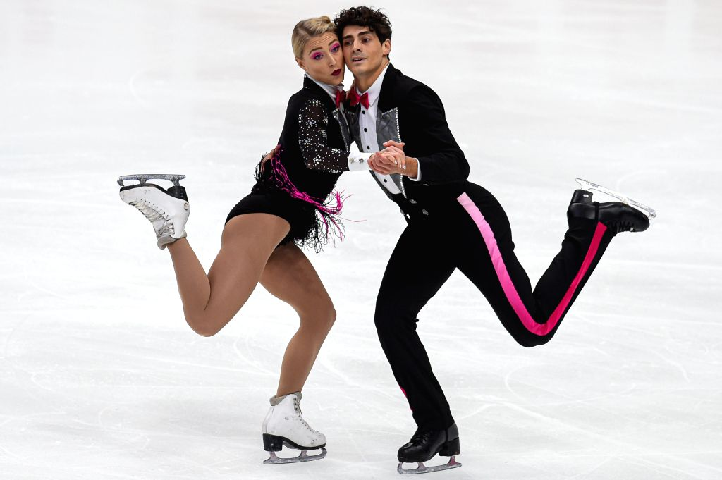 MOSCOW, Nov. 16, 2019 - Piper Gilles (L) and Paul Poirier of Canada perform during the rhythm dance of Ice Dance at the ISU Grand Prix of Figure Skating Rostelecom Cup 2019 in Moscow, Russia, on Nov. ...