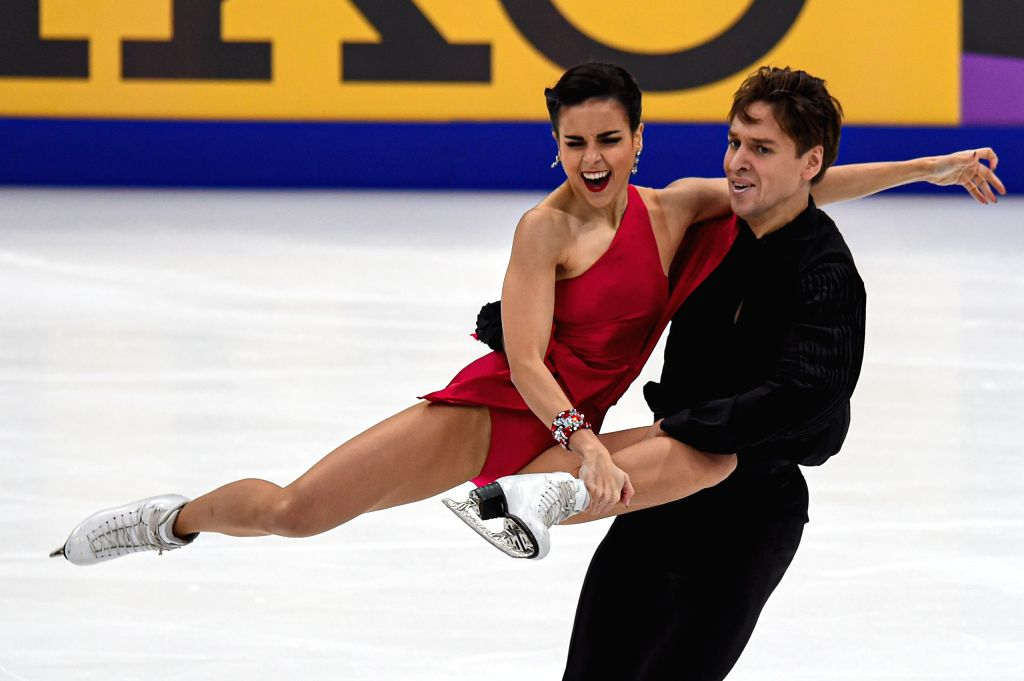 MOSCOW, Nov. 16, 2019 - Sara Hurtado (L) and Kirill Khalyavin of Spain perform during the rhythm dance of Ice Dance at the ISU Grand Prix of Figure Skating Rostelecom Cup 2019 in Moscow, Russia, on ...