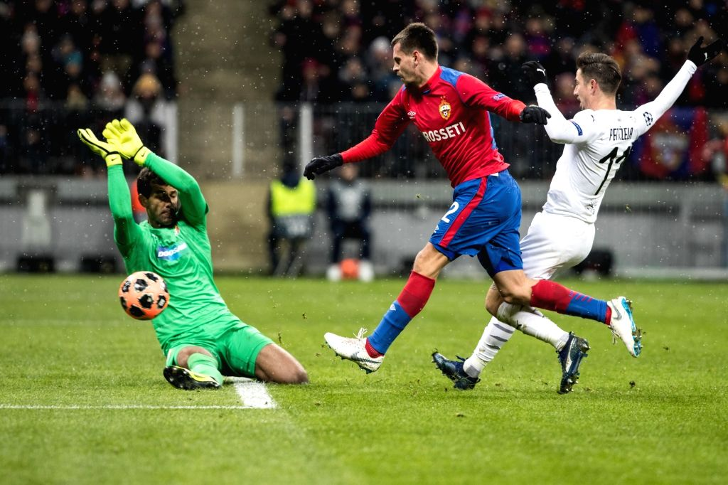 MOSCOW, Nov. 28, 2018 - Victoria's goalkeeper Ales Hruska (L) saves the ball during a Champions League soccer Group G match between CSKA Moskva and Viktoria Plzen at the Luzhniki Stadium in Moscow, ...