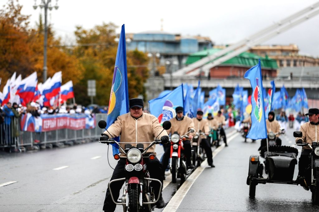 MOSCOW, Oct. 15, 2017 - A motorcycle team attend a parade for the 2017 World Festival of Youth and Students in Moscow, Russia, Oct. 14, 2017.