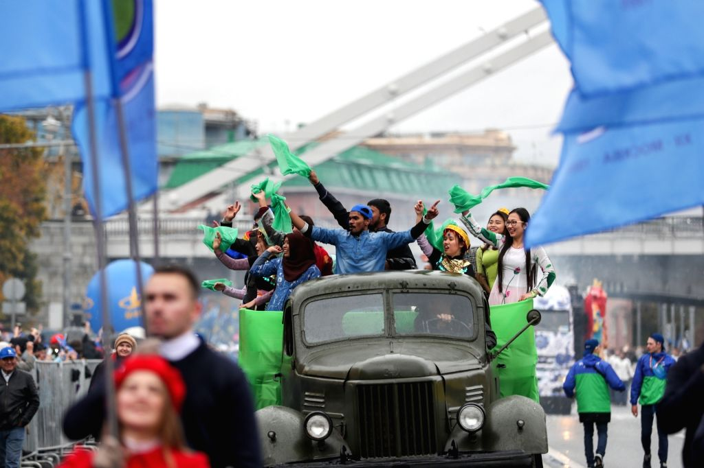 MOSCOW, Oct. 15, 2017 - Young people dance during a parade for the 2017 World Festival of Youth and Students in Moscow, Russia, Oct. 14, 2017.
