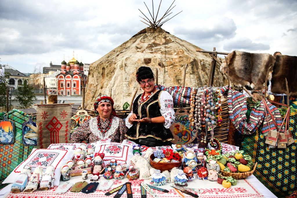 MOSCOW, Sept. 13, 2019 - Representatives of Cossacks showcase crafts at their site during the Russian Geographical Society Festival at Zaryadye park in Moscow, Russia, on Sept. 13, 2019. The 4th ...