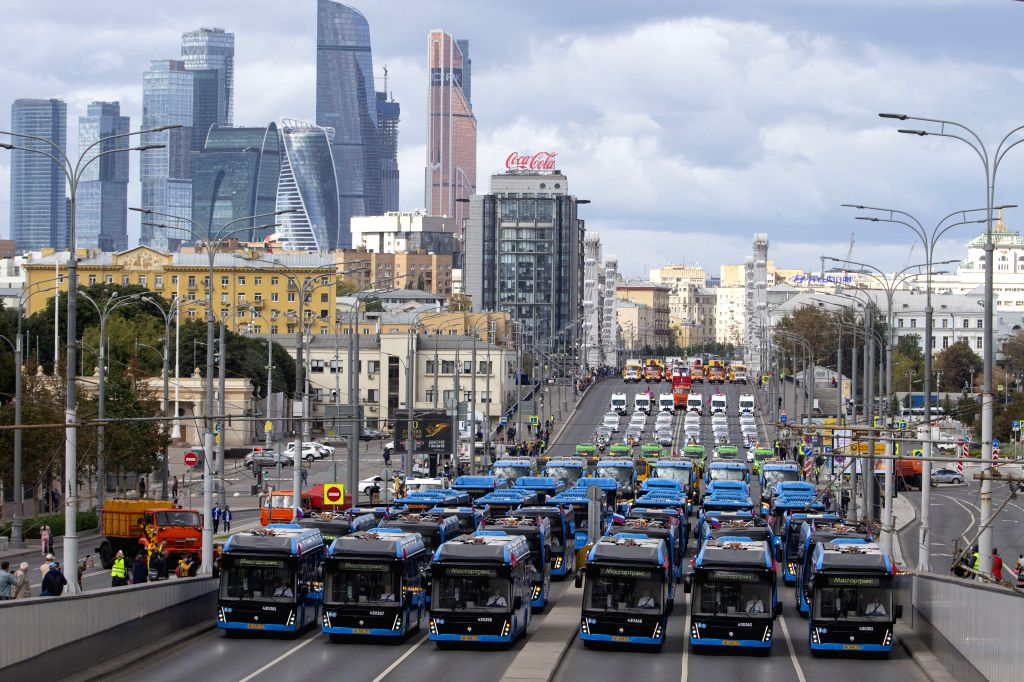MOSCOW, Sept. 14, 2019 - Municipal buses take part in a parade of municipal service vehicles in central Moscow, Russia, on Sept. 14, 2019. About 700 vehicles took part in the Municipal Service ...