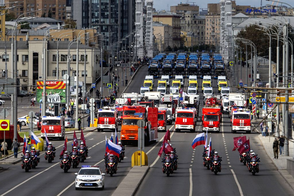 MOSCOW, Sept. 14, 2019 - Municipal service vehicles take part in a parade in central Moscow, Russia, on Sept. 14, 2019. About 700 vehicles took part in the Municipal Service Vehicle Parade on ...