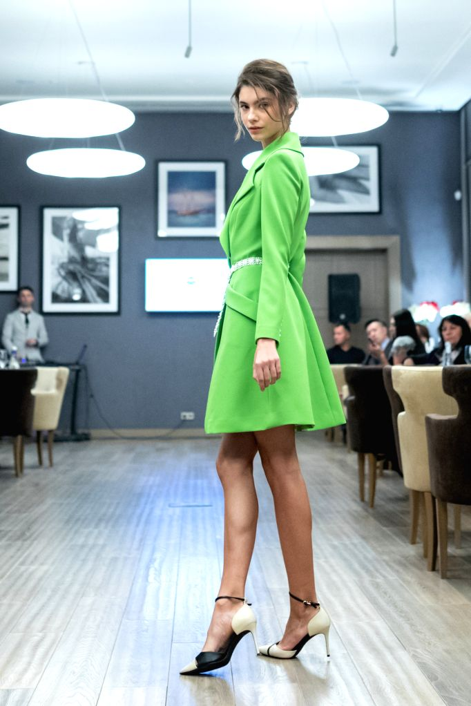 MOSCOW, Sept. 29, 2019 - A model presents a creation of Grace Chen in Moscow, Russia, on Sept. 29, 2019.