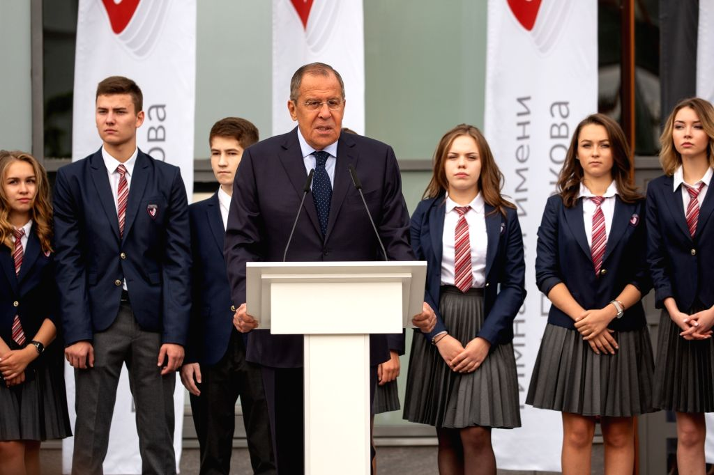 MOSCOW, Sept. 3, 2018 - Russian Foreign minister Sergey Lavrov (front) addresses the audience during the ceremony of the first day of school in Evgeny Primakov Gimnasium in Moscow, Russia, on Sept. ... - Sergey Lavrov