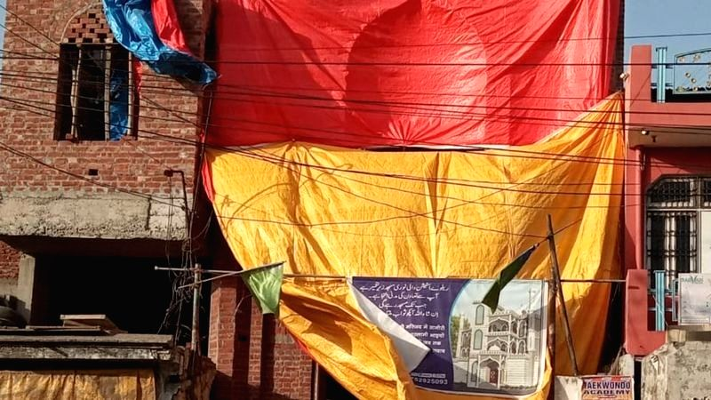 Mosque covered for Joota Maar Holi in UP district