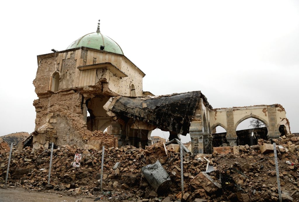 MOSUL (IRAQ), Dec. 5, 2018 Photo taken on Dec. 5, 2018 shows the remains of the historic Great Mosque of al-Nuri in the old city of Mosul, Iraq. About 17 months after liberation from the ...